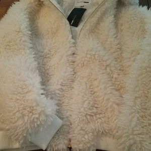 Plus Size Teddy- Fur White Holiday Bomber Jacket